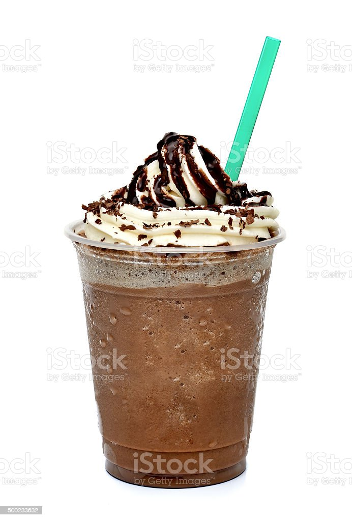 Frapuccino in takeout cup with straw stock photo