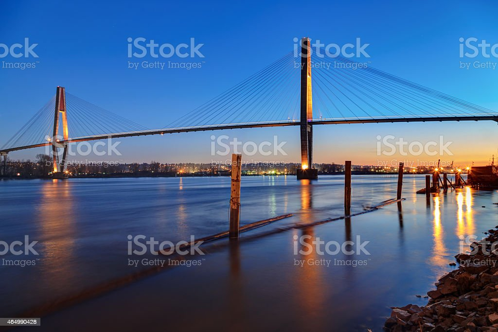 Fraser River at blue hour stock photo