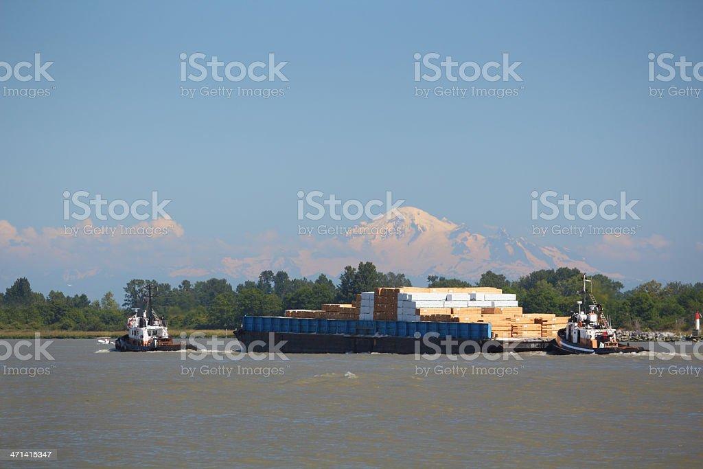 Fraser River Barge, Mount Baker Afternoon stock photo