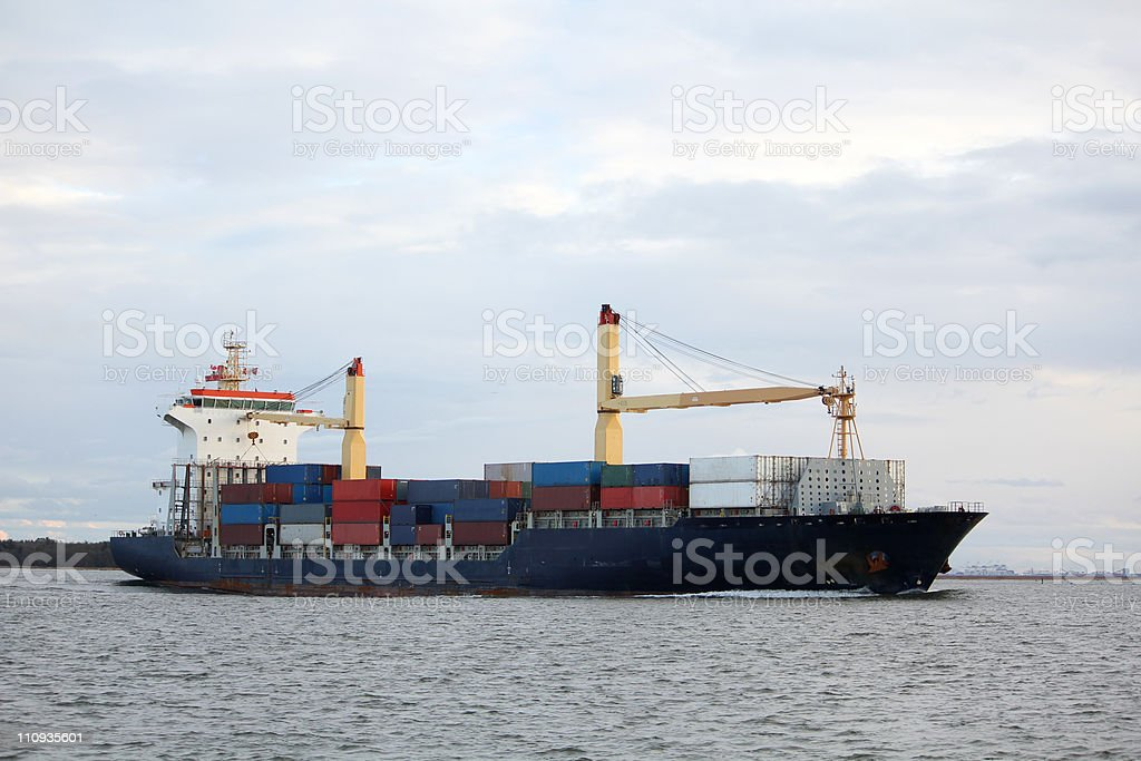 Fraser River Container Ship stock photo