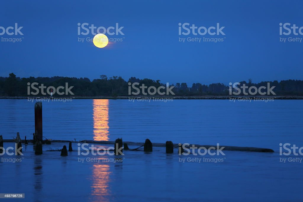 Fraser River Moonrise royalty-free stock photo