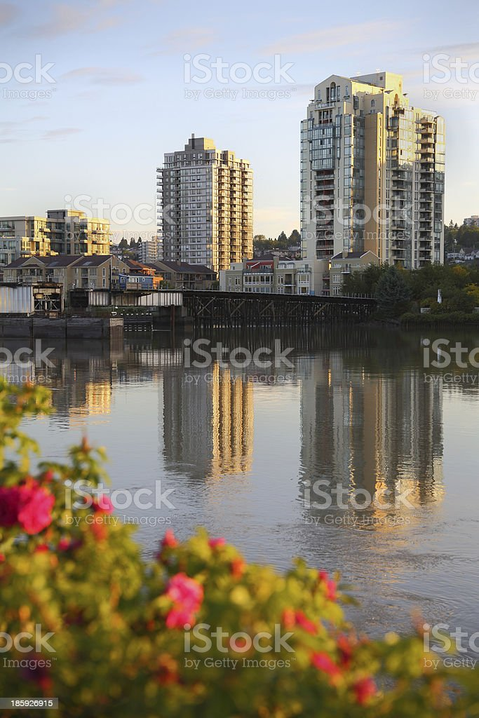 Fraser River, New Westminster Skyline, BC vertical royalty-free stock photo