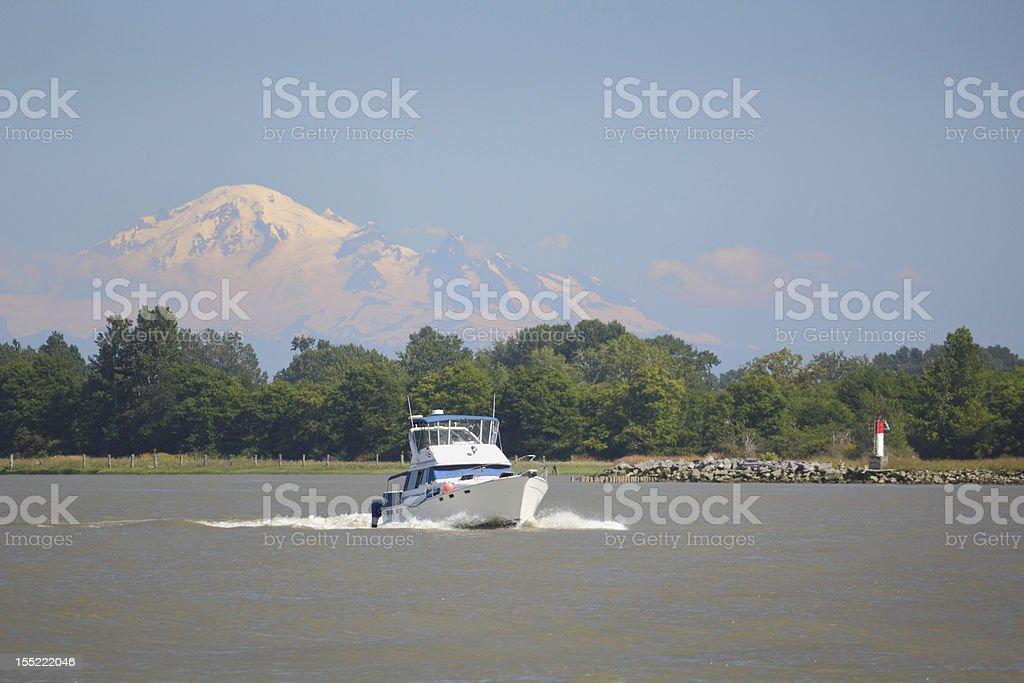 Fraser River Pleasure Yacht, Mount Baker stock photo