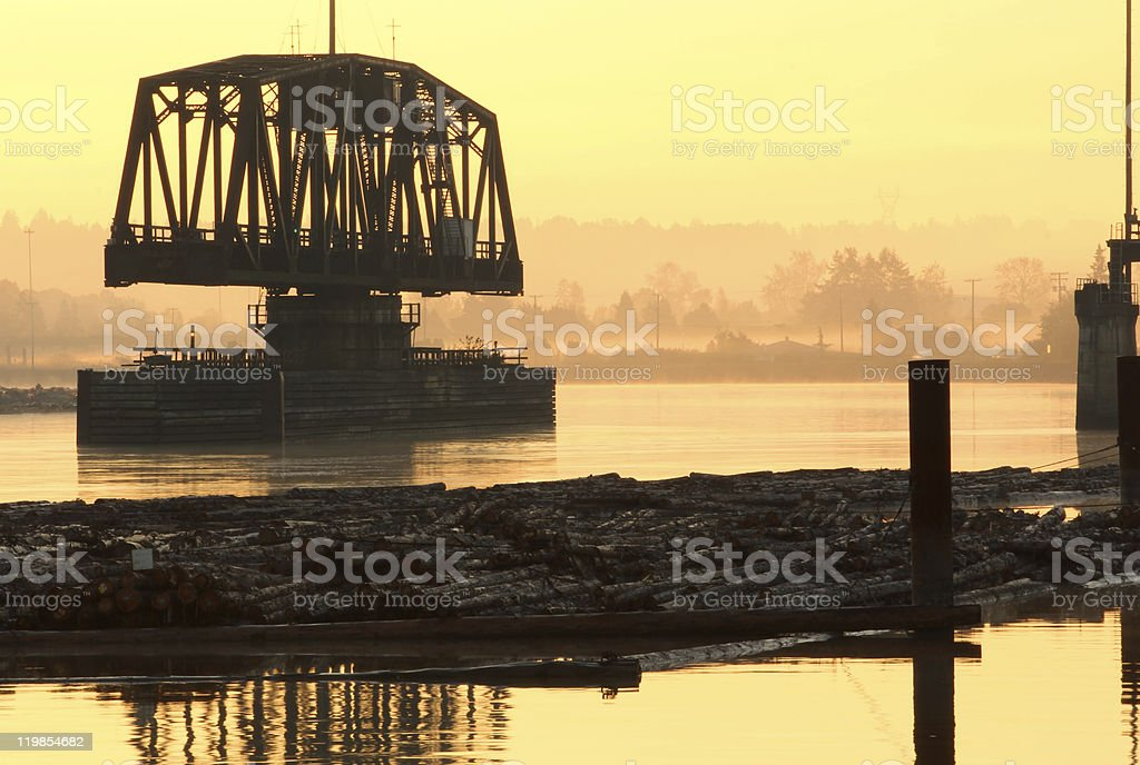 Fraser River Rail Trestle Dawn stock photo