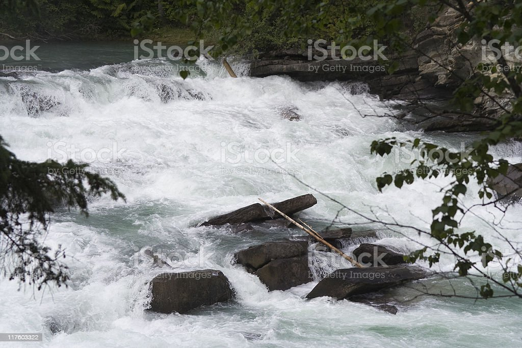 Fraser River spilling over Rearguard Falls royalty-free stock photo
