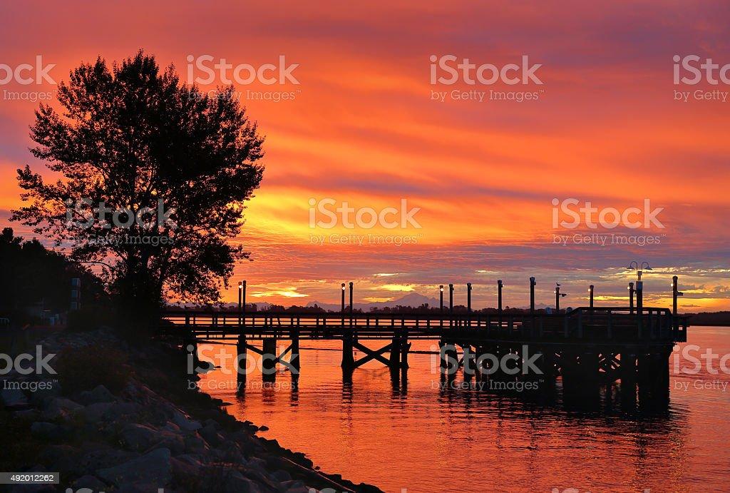 Fraser River Sunrise stock photo