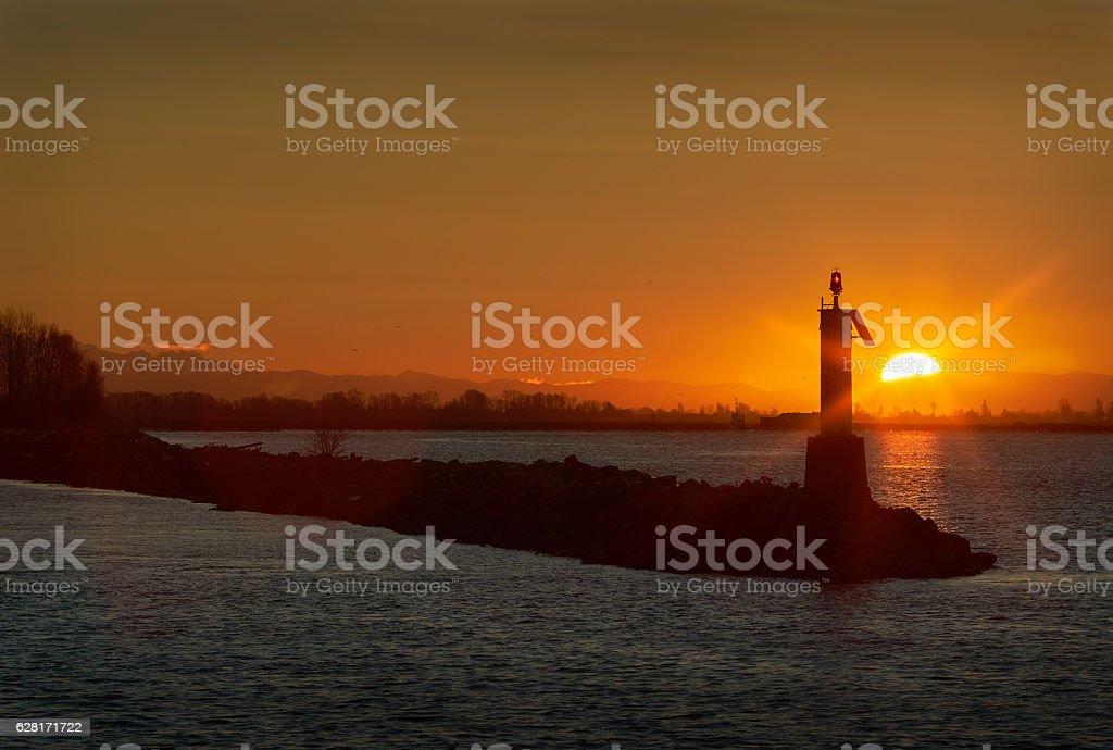 Fraser River Sunrise, Richmond, BC stock photo