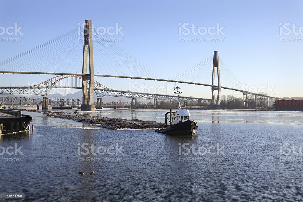 Fraser River Winter Log Boom stock photo
