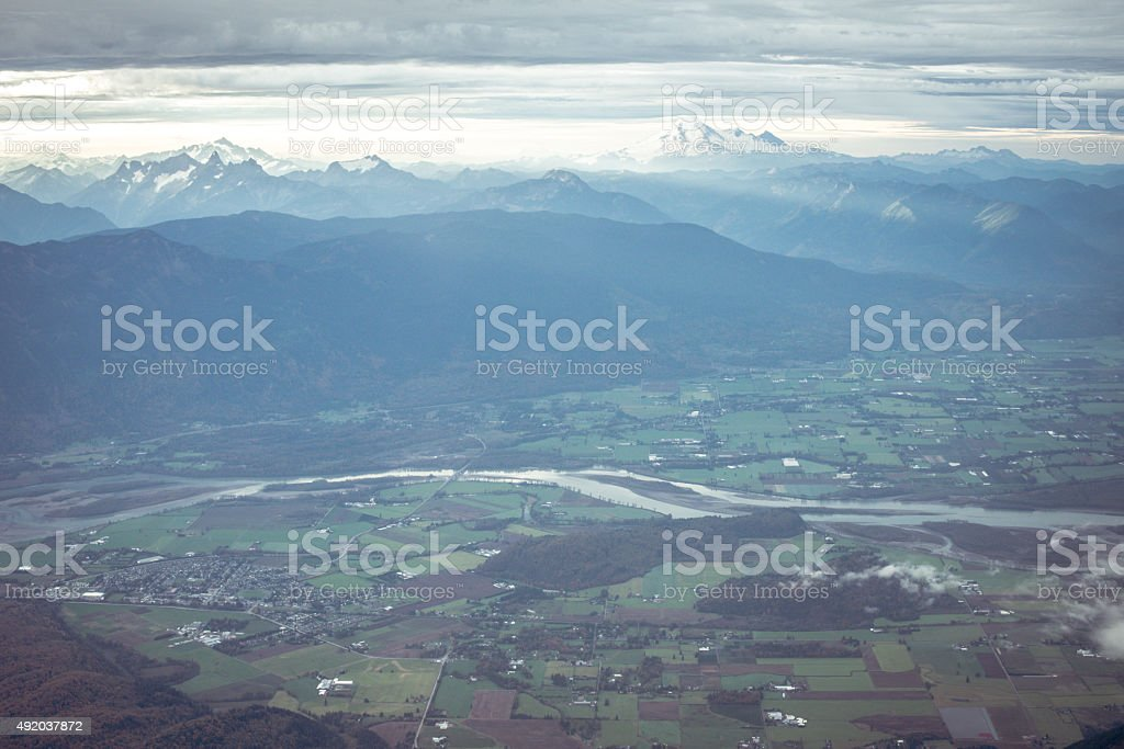 Fraser Valley Aerial View Abbotsford BC Canada stock photo
