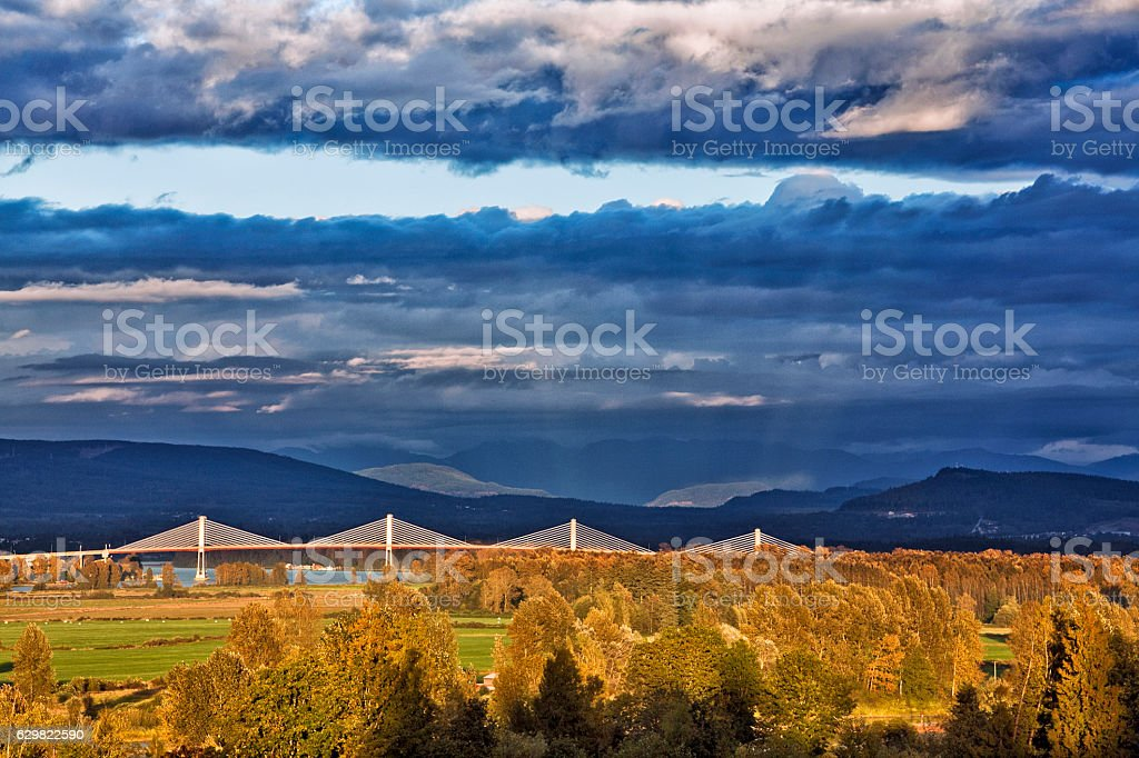 Fraser Valley at sunset stock photo