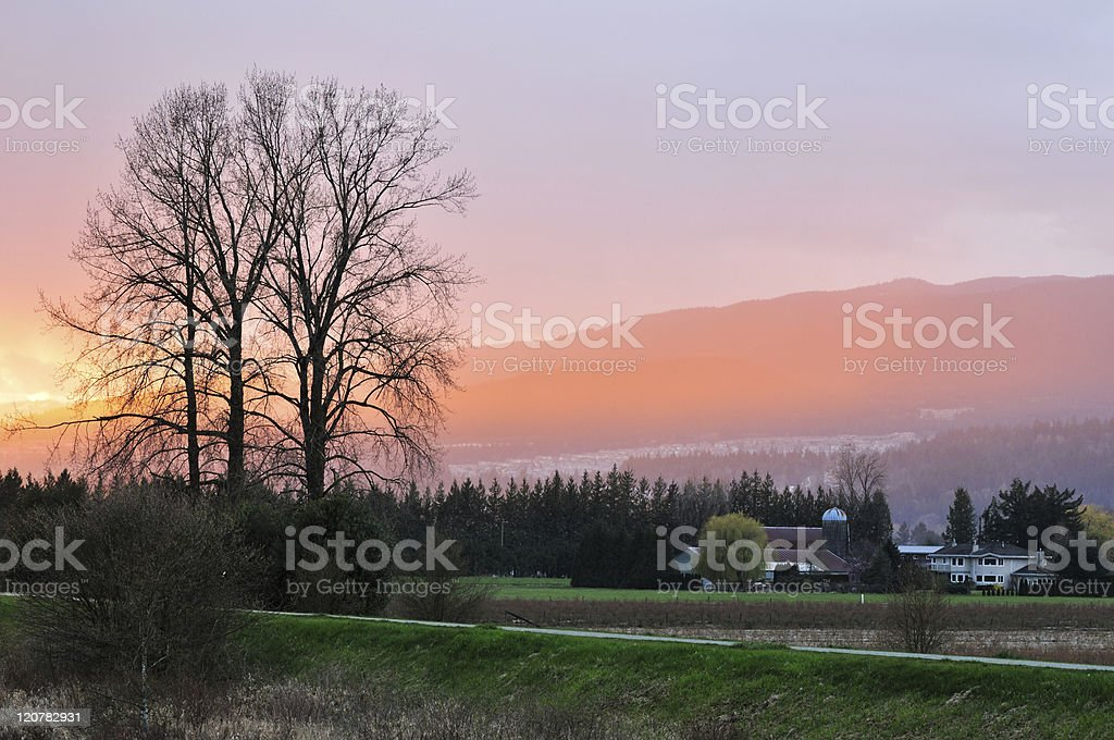 Fraser Valley Raining Sunset stock photo