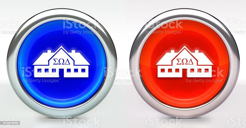 Frat House Icon on Button with Metallic Rim stock photo
