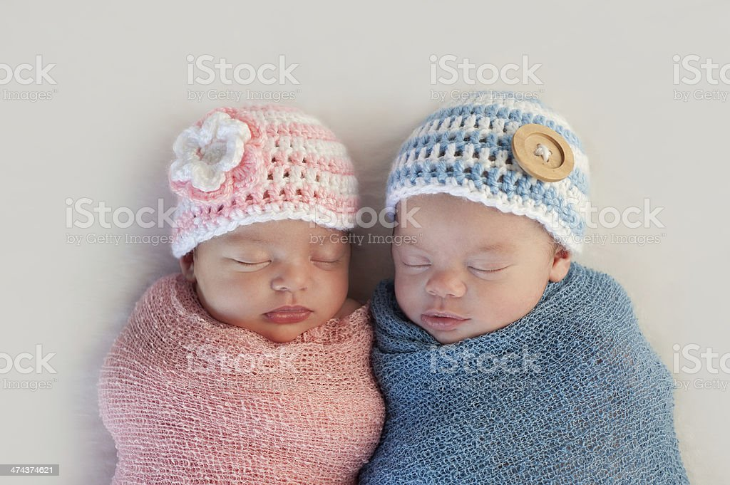 Fraternal Twin Baby Brother and Sister royalty-free stock photo