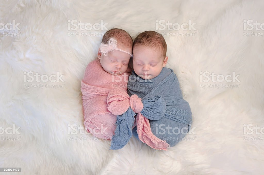 Fraternal Twin Baby Brother and Sister stock photo