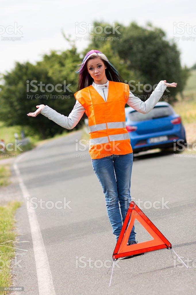 Frau mit Warnweste stock photo