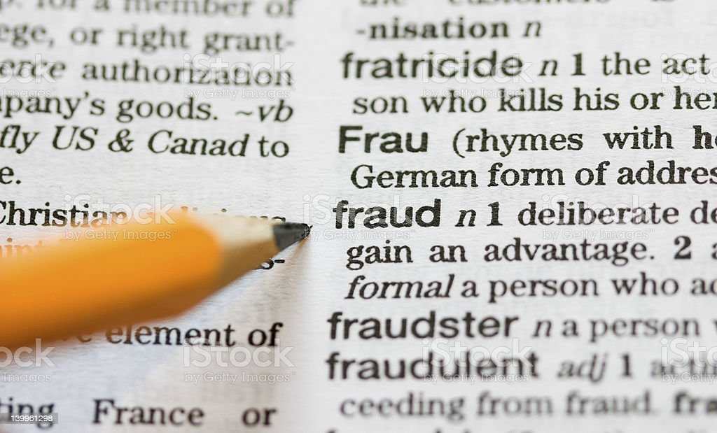 Fraud defined royalty-free stock photo