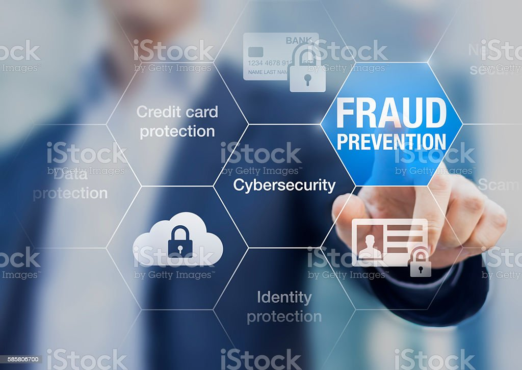 Fraud prevention button, concept about cybersecurity and credit card protection stock photo