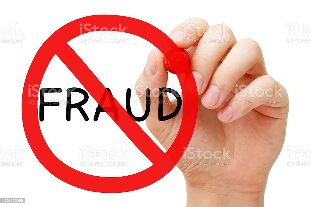 Fraud Prohibition Sign Concept stock photo