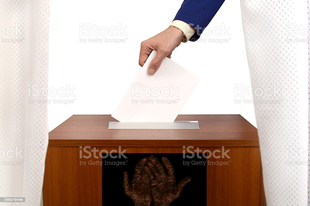 fraudulent voting at the polling station stock photo