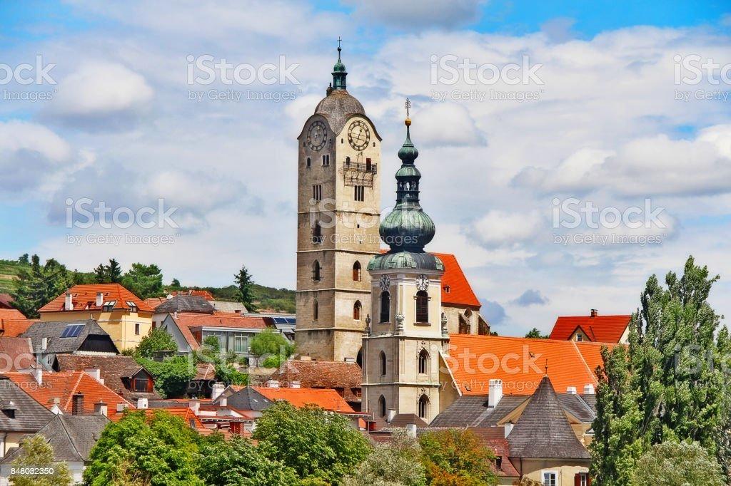 Frauenbergkirche (Stein-left) and Pfarrkirche Stein an der Donau (right) in Krems an der Donau in the federal state of Lower Austria, Wachau Valley, Austria (Osterreich) stock photo