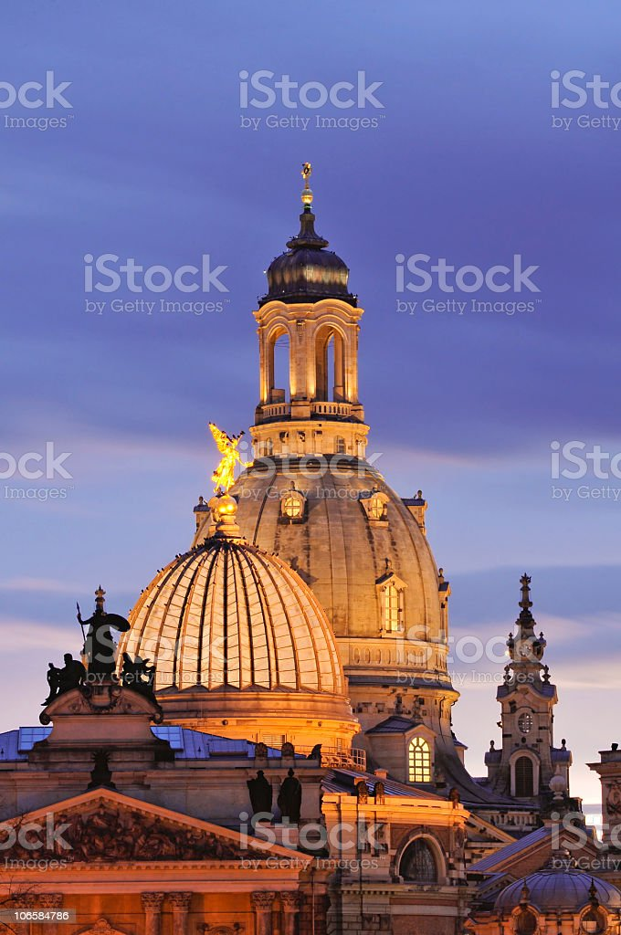 Frauenkirche and the Academy of Art in Dresden, Germany stock photo