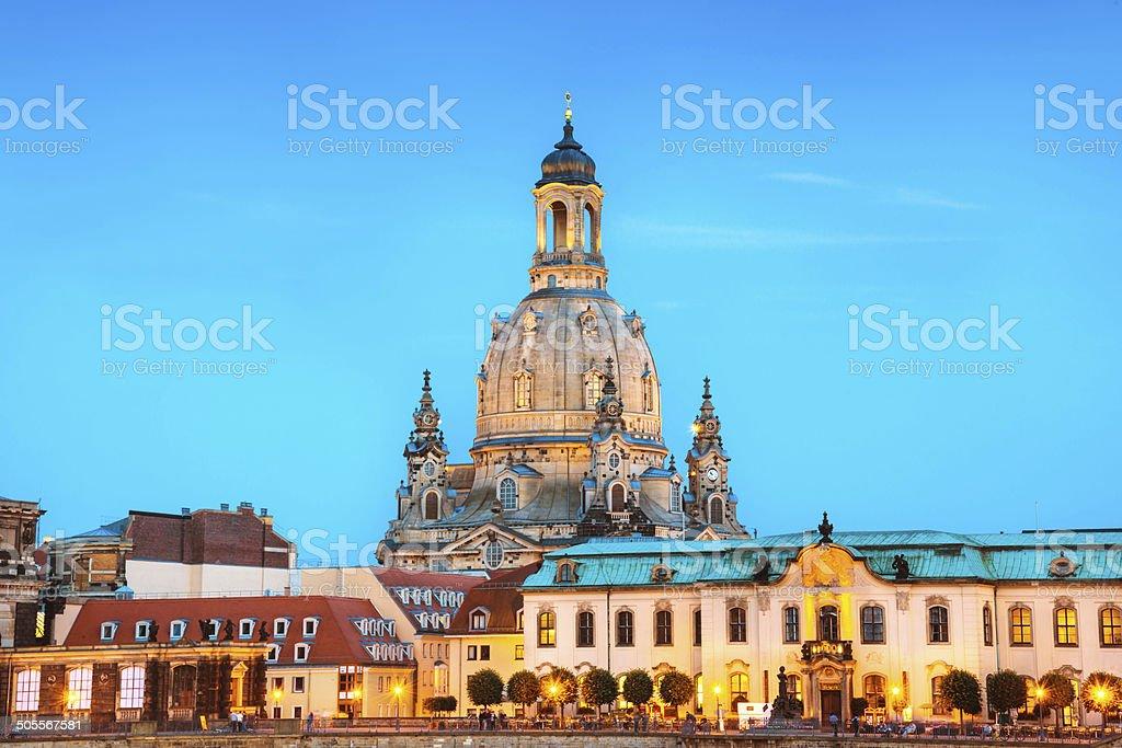 Frauenkirche at dusk - Dresden, Germany royalty-free stock photo