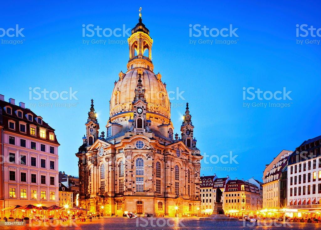 Frauenkirche at dusk - Dresden, Germany stock photo