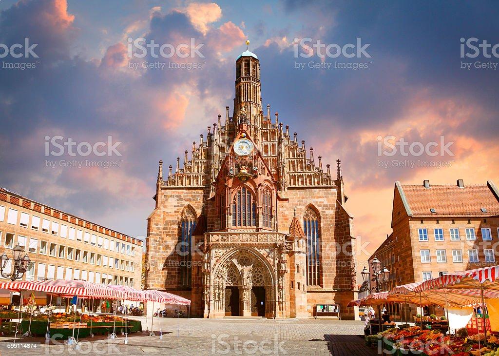 Frauenkirche church in Nuremberg stock photo