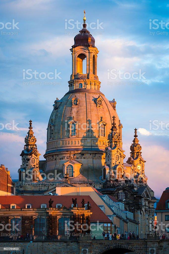 Frauenkirche Dresden im Abendlicht stock photo