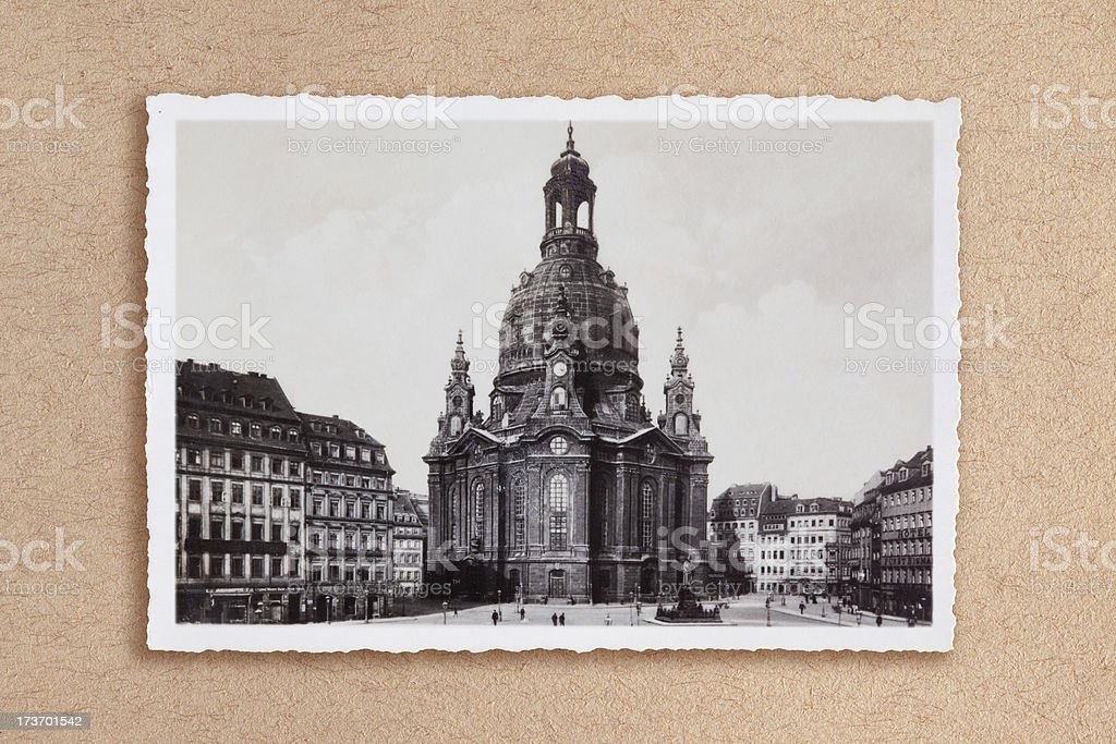 Frauenkirche in Dresden Germany 1920 royalty-free stock photo