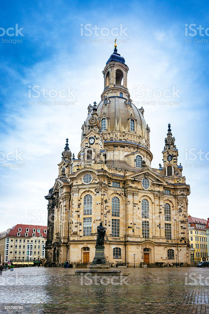 Frauenkirche in the center of Dresden in Germany stock photo