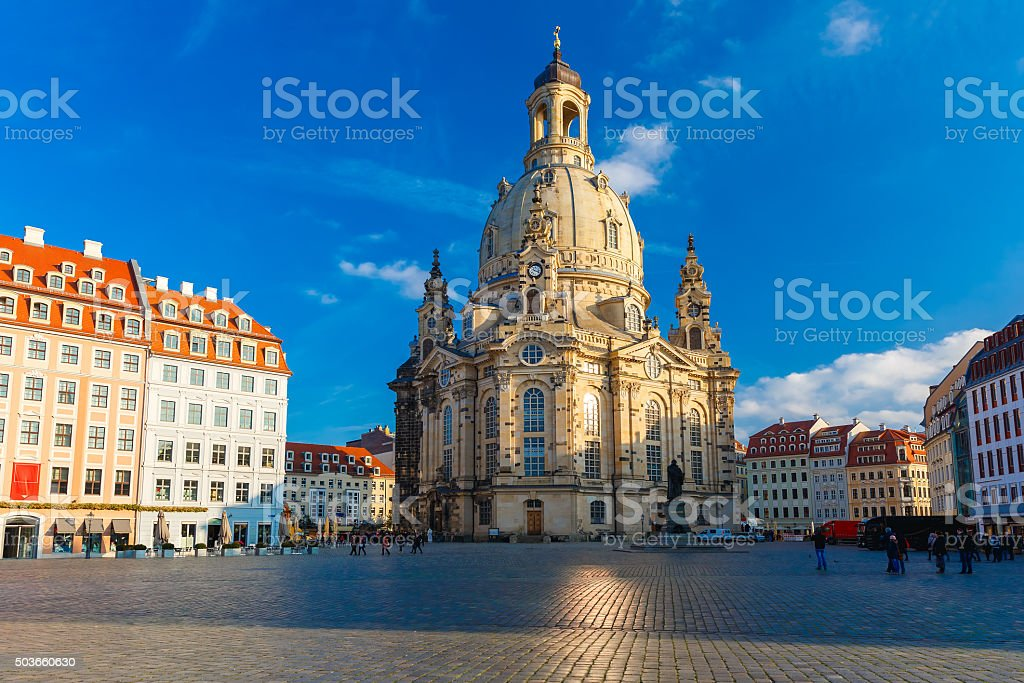 Frauenkirche in the morning, Dresden, Germany stock photo
