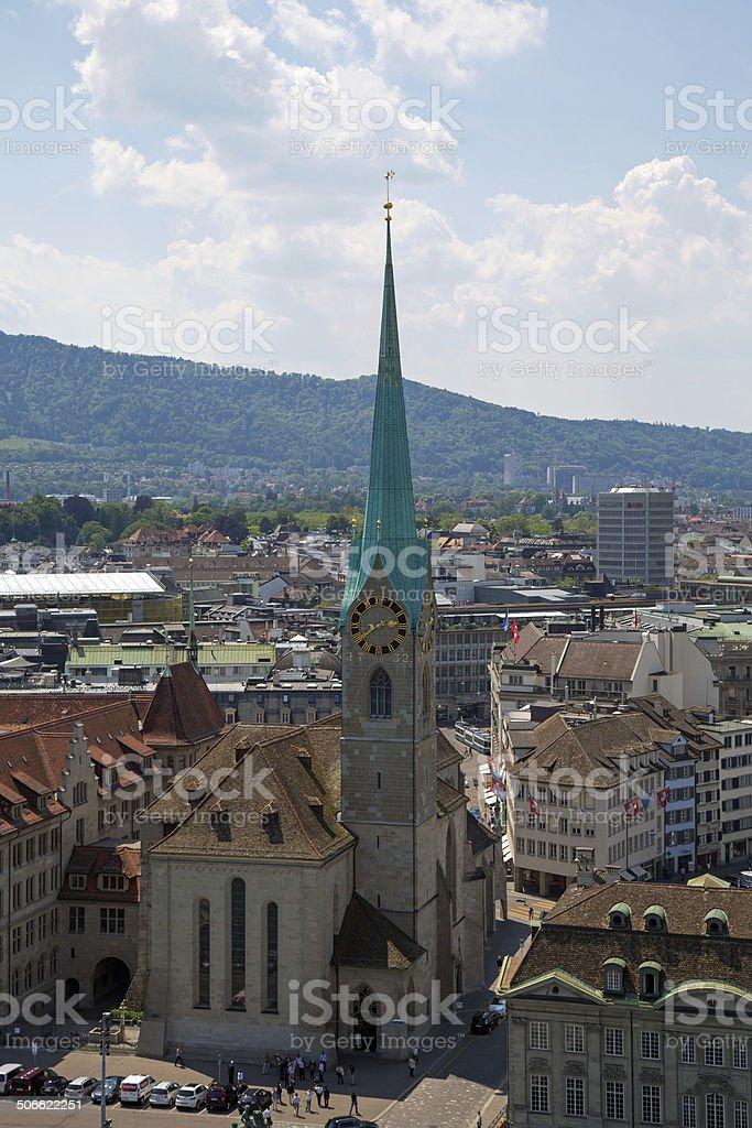 Fraumunster church Zurich Switzerland stock photo