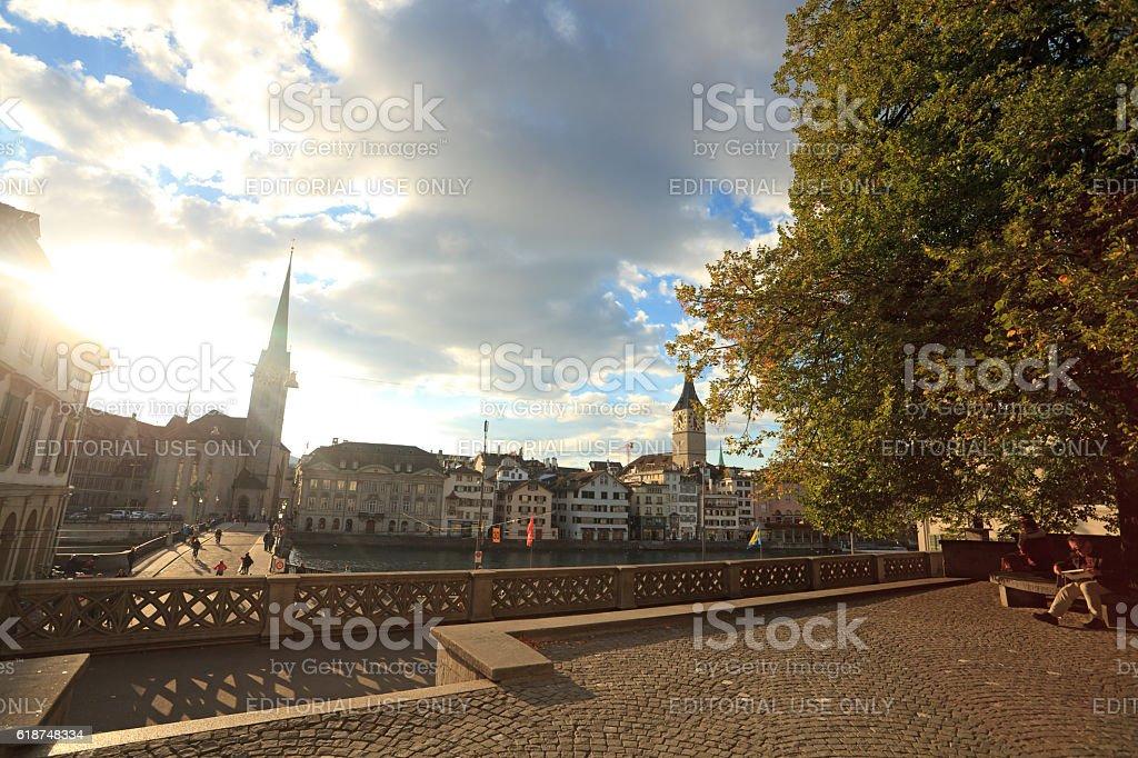 Fraumunster in sunset, Zurich stock photo