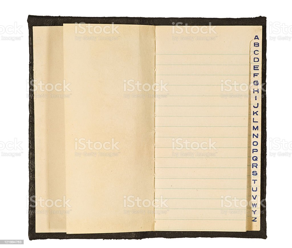Frayed and Yellow Old Pocket Address Book stock photo