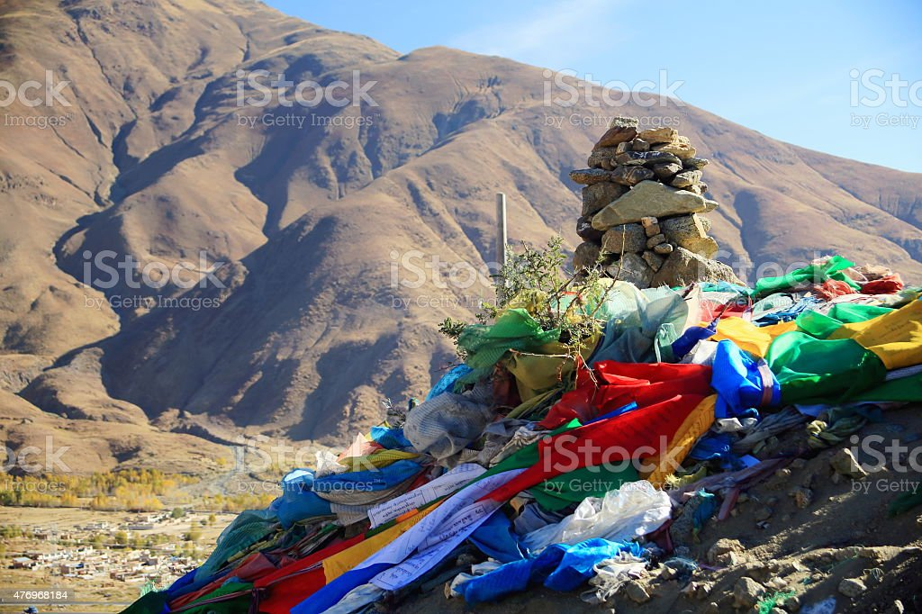 Frayed prayer flags in Nachan La-Pass. Lhasa pref.-Tibet. 1457 stock photo