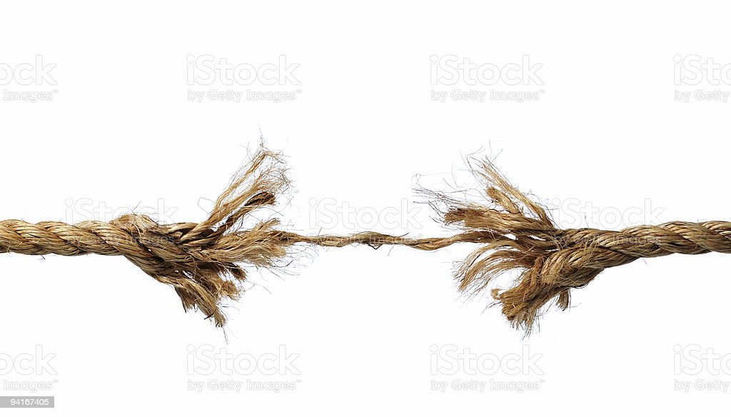 Frayed Rope about to Break royalty-free stock photo