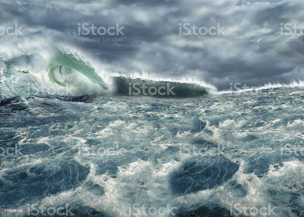 Freak wave on ocean, Tsunami waves stock photo