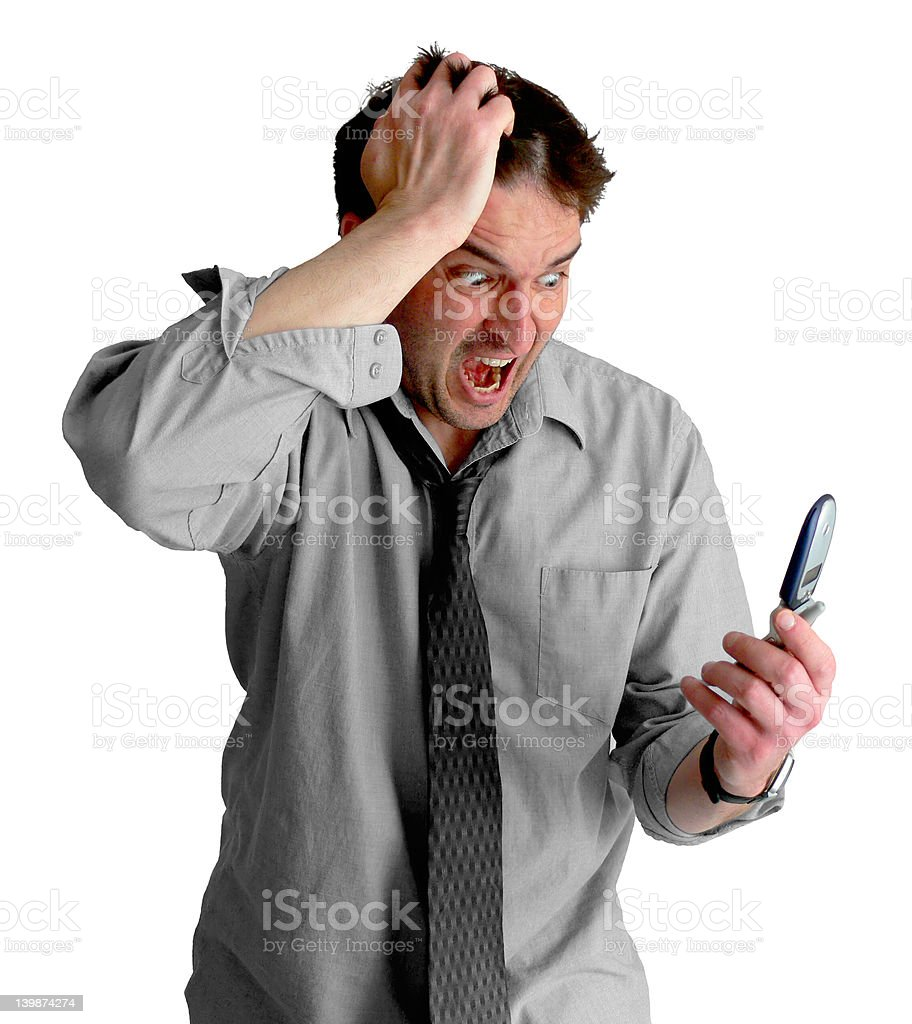Freaked Out Phone Guy stock photo