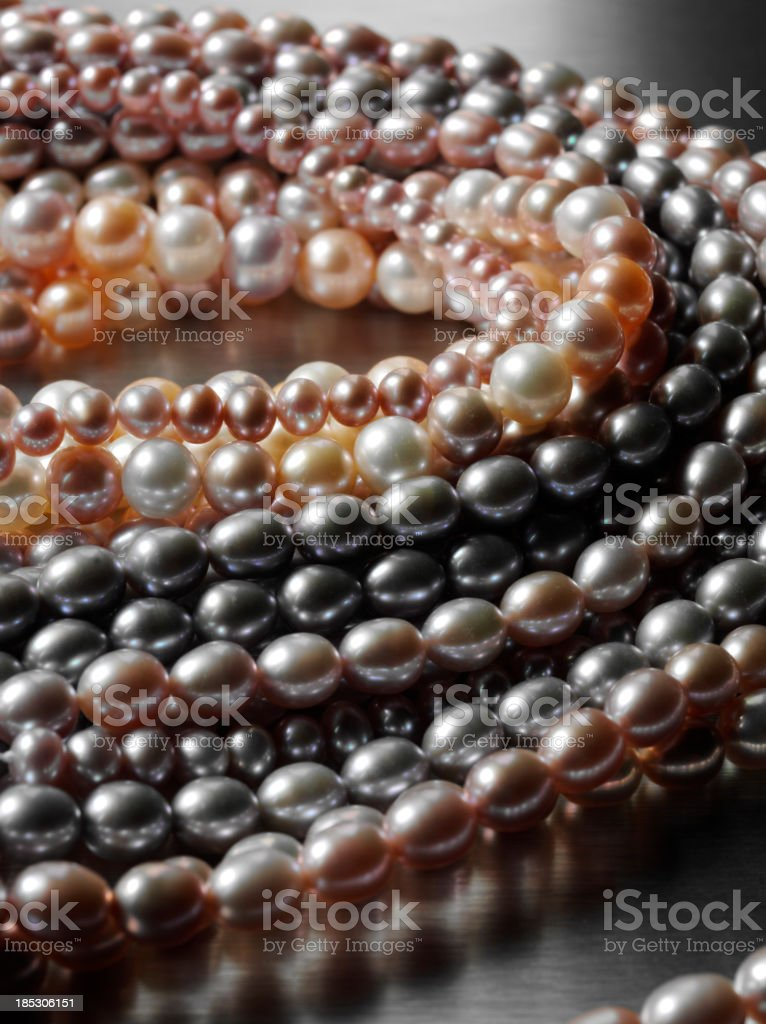 Freashwater Pearls on Steel stock photo