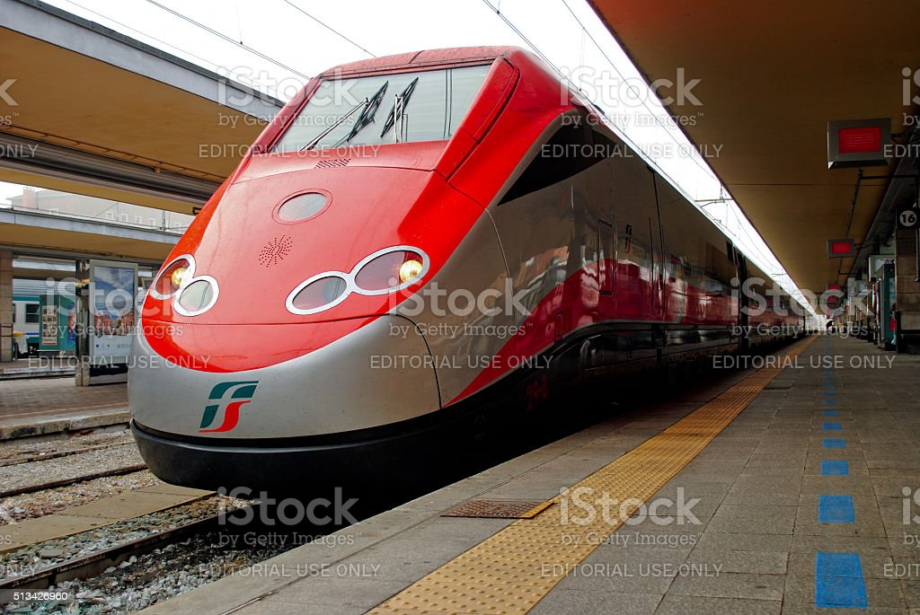 Turin, Piedmont, Italy - October, 13, 2011: Frecciarossa train in Turin. stock photo