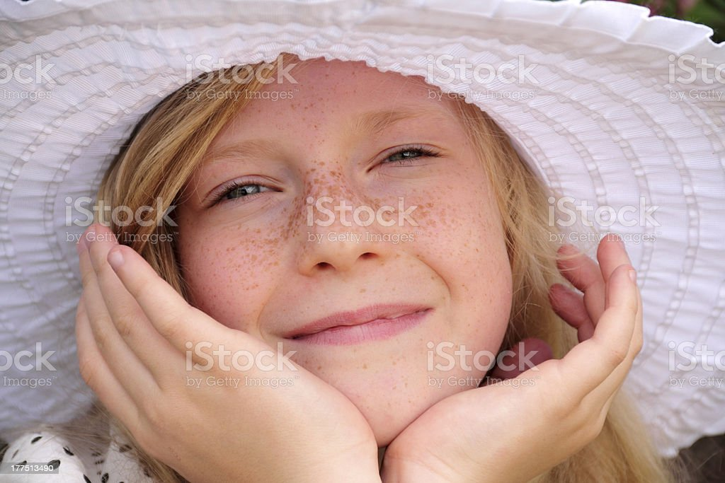 freckle face stock photo