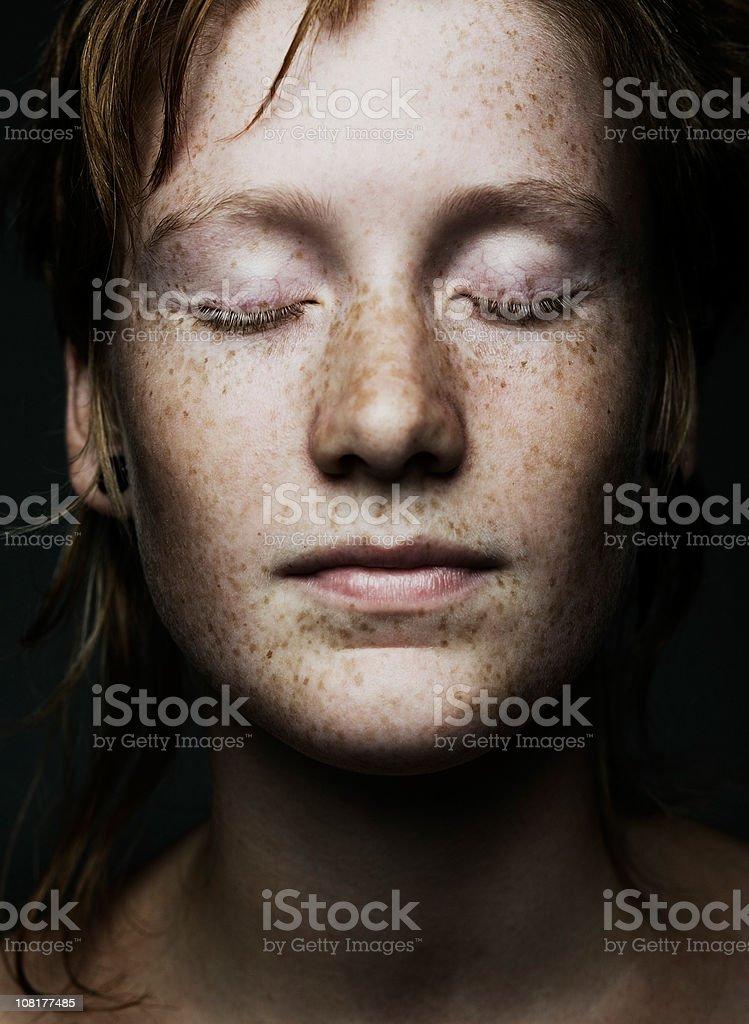 freckled portrait stock photo