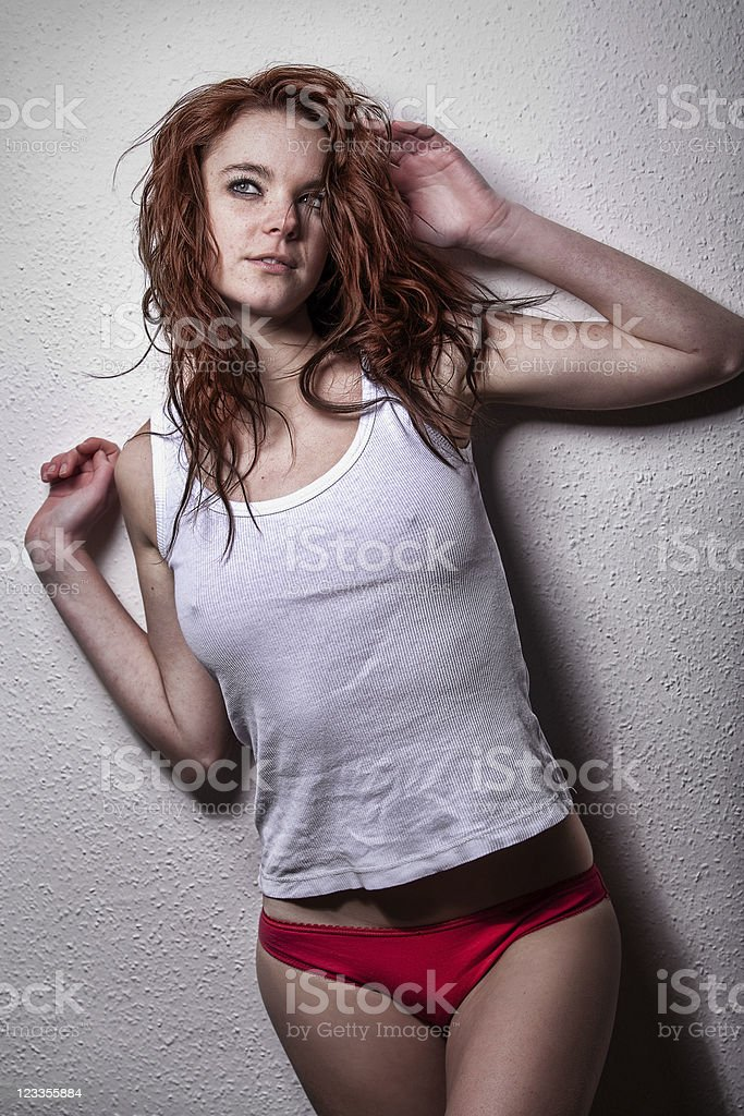 Freckled woman on fashion portrait royalty-free stock photo