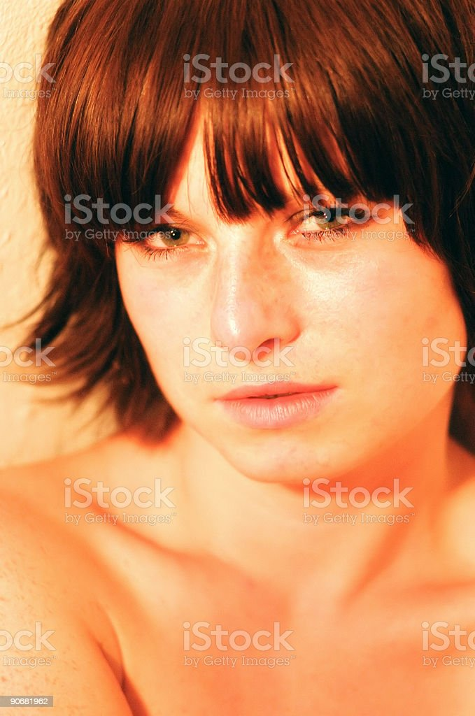 Freckled woman royalty-free stock photo