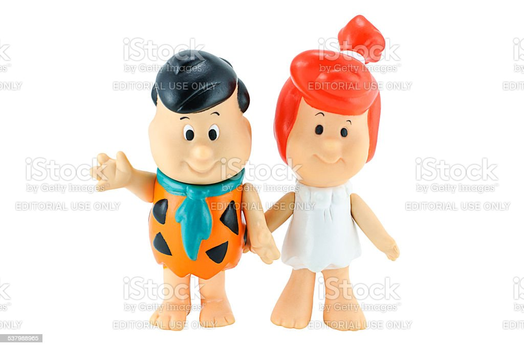 Fred Flintstone and his wife Wilma Flintstone character from the stock photo