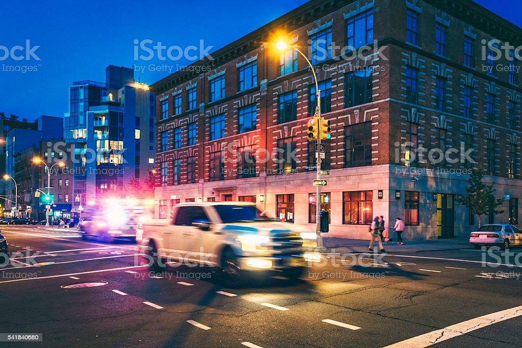 Frederick Douglass Boulevard in Harlem, overnight stock photo
