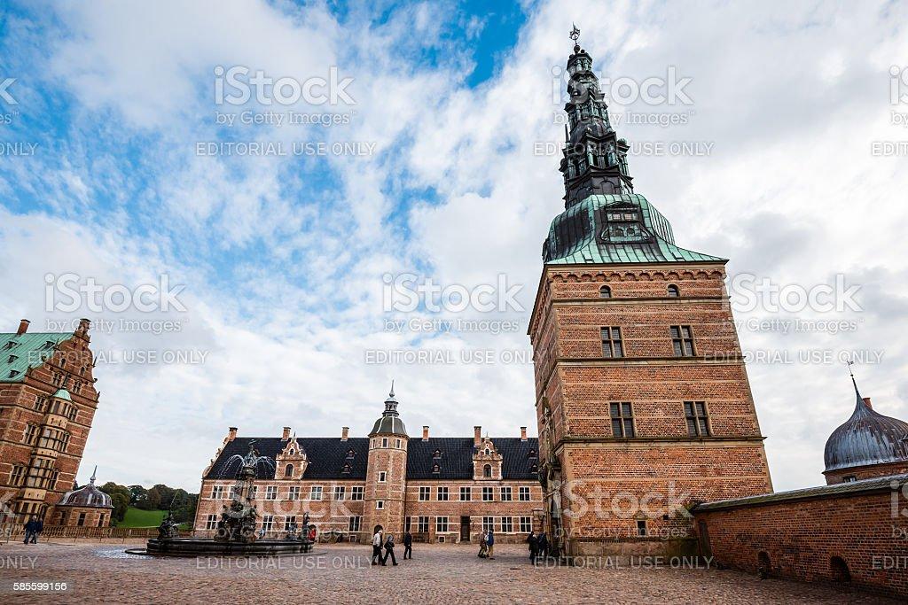 Frederiksborg Castle and Neptune Fountain stock photo