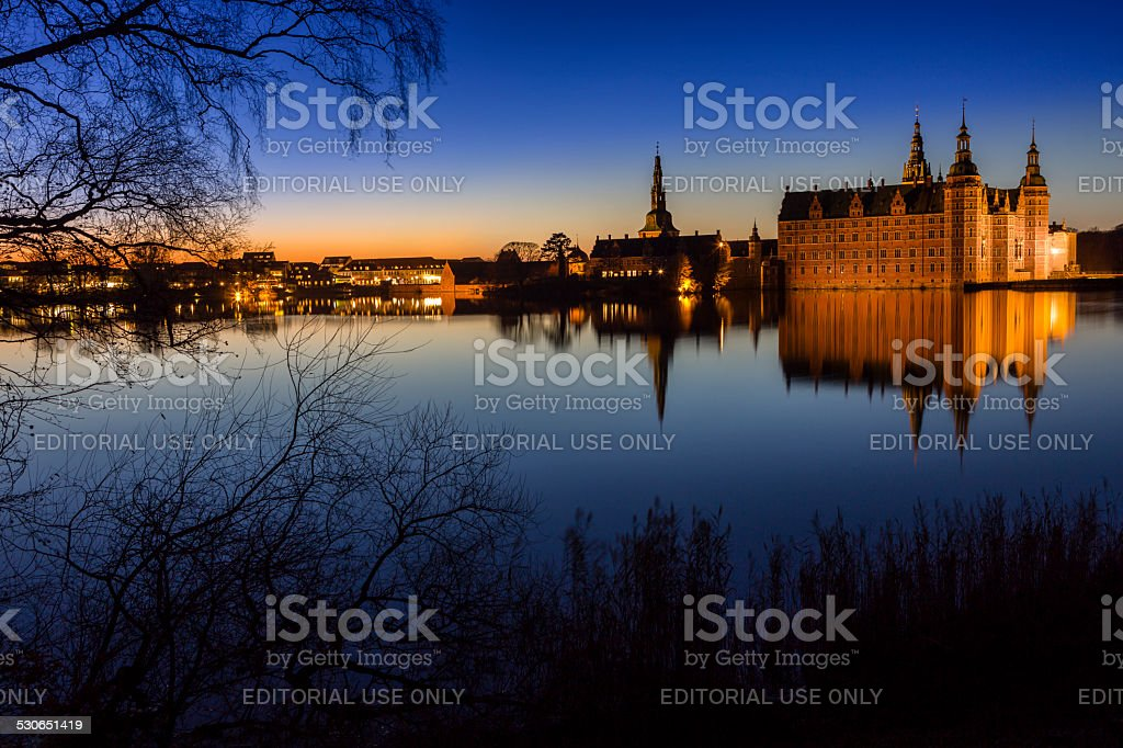 Frederiksborg Castle at sunset, Denmark stock photo
