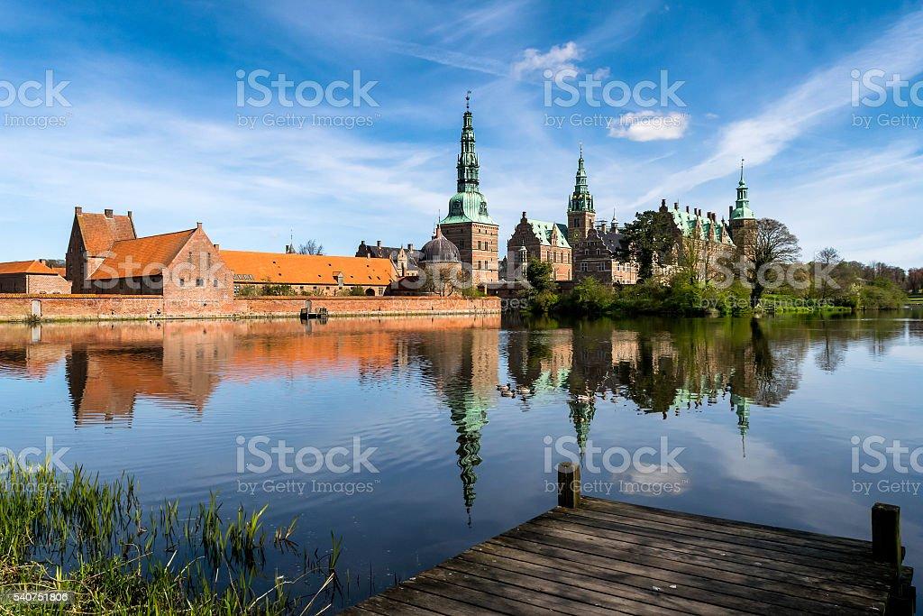 Frederiksborg Castle, Lake View stock photo